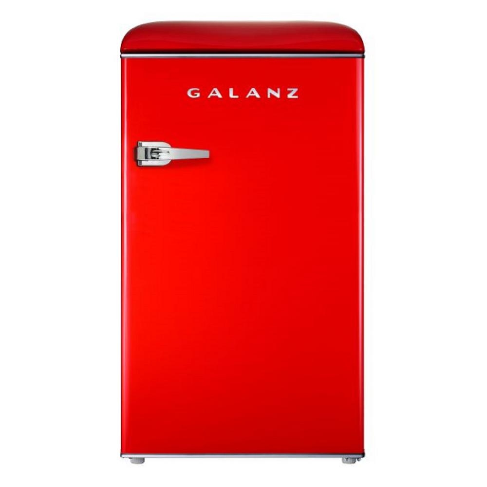Galanz 3.5 cu. ft. Retro Mini Refrigerator Single Door Fridge Only in Red Galanz 3.5 cu. ft. Retro style compact refrigerator can store and keep cool snacks, beverages and more. Best of all, this refrigerator-freezer has the look and feel of the fabulous old days, but has the appeal of a modern appliance. Featuring an adjustable thermostat, separate freezer compartment, bright interior lighting and spacious, clear fruit and vegetable crisper, the unit also has removable shelf and door shelves. It is a fun and stylish addition to any kitchen, rec room or home office. Color: Red.