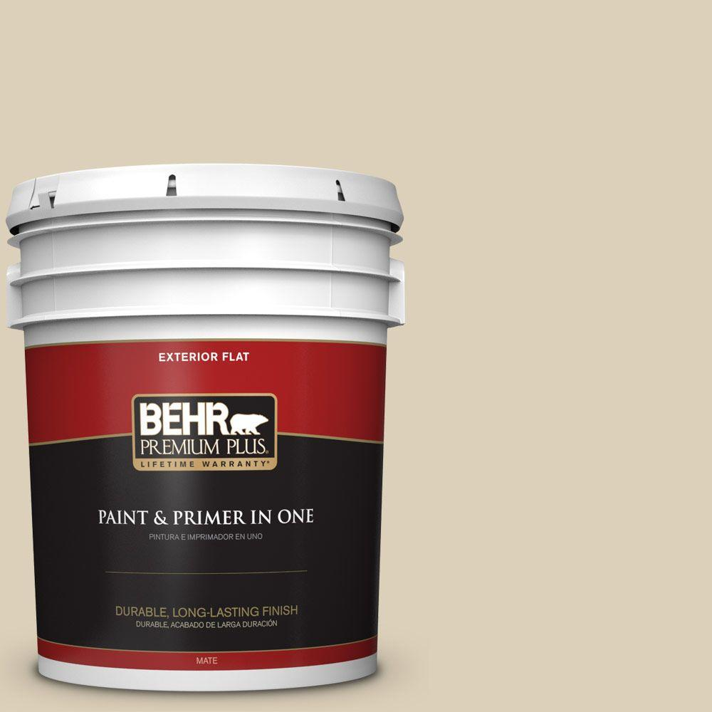 5 gal. #BWC-26 Stucco Tan Flat Exterior Paint and Primer in