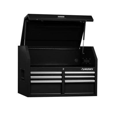 36 in. W x 24.2 in. D 6-Drawer Top Tool Chest in Black