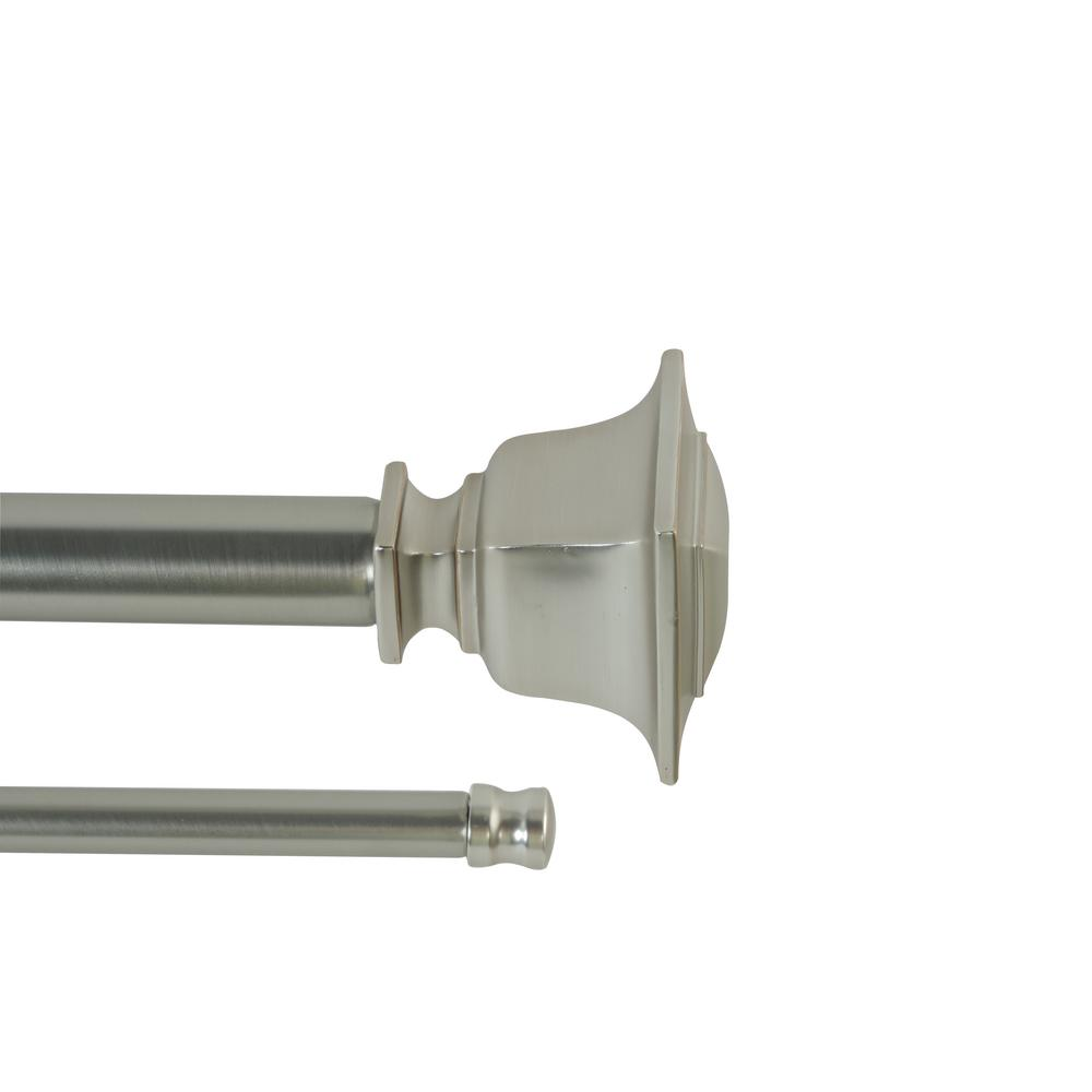72 in - 144 in. Adjustable Length 1 in. Dia Double Rod Set in Brushed Nickel with Decorative Finials
