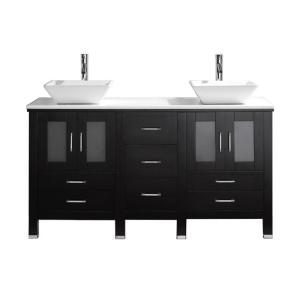 Virtu USA Bradford 60 inch W x 22 inch D Vanity in Espresso with Stone Vanity Top in White with White Basin with Faucet by Virtu USA