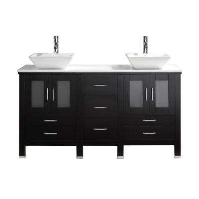 Bradford 60 in. W x 22 in. D Vanity in Espresso with Stone Vanity Top in White with White Basin with Faucet