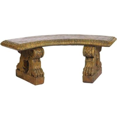 Large Curved Bench with Claw Legs