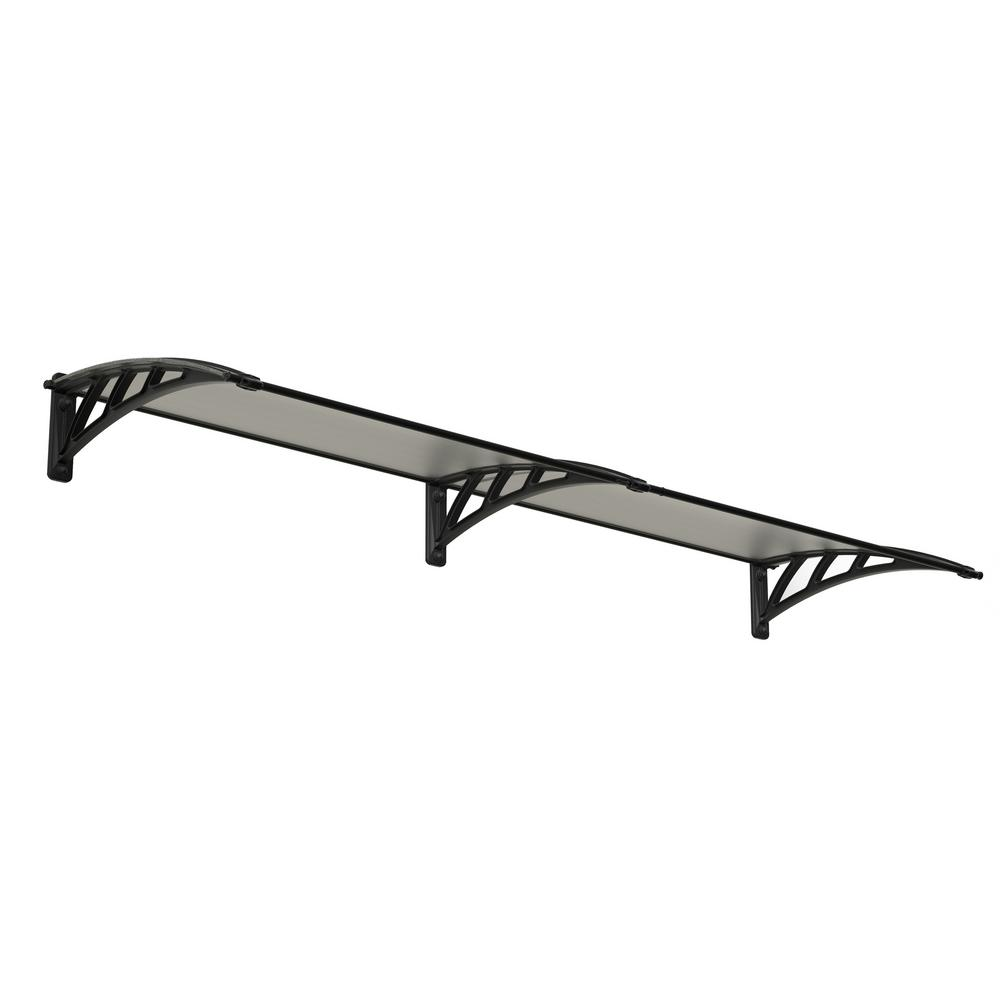 Palram Neo 2360 7 ft. 9 in. Gray/Clear Twin-Wall Door Canopy Awning
