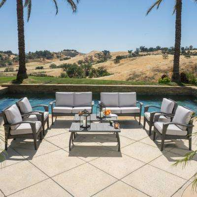 Atticus Grey 8-Piece Wicker Patio Conversation Set with Light Grey Cushions