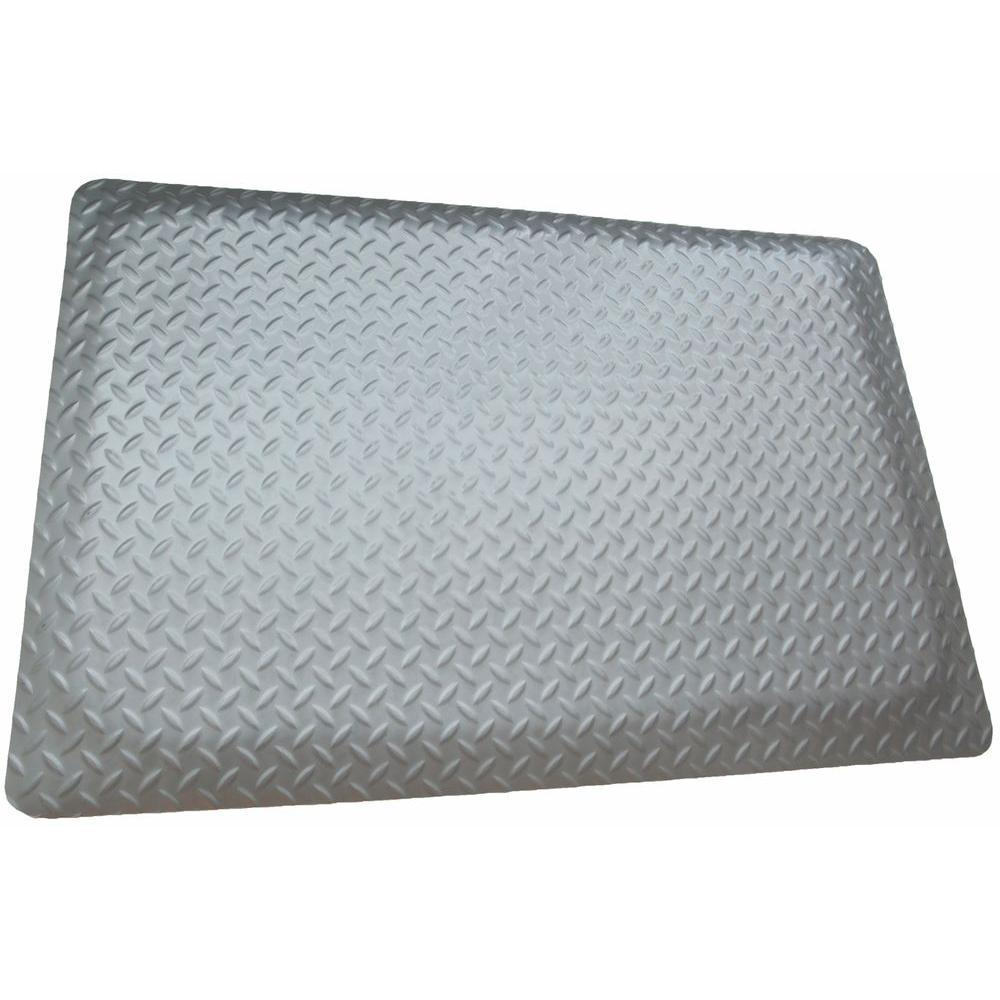 Diamond Plate Anti-fatigue Mat RHI-NO Slip Gray 4 ft. x 2...