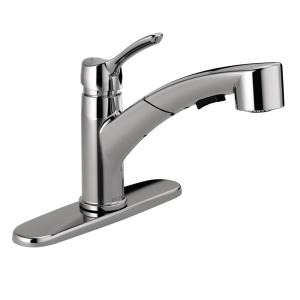 Moen Integra Single Handle Pull Out Sprayer Kitchen Faucet With Power Clean In Spot Resist Stainless 67315srs The Home Depot