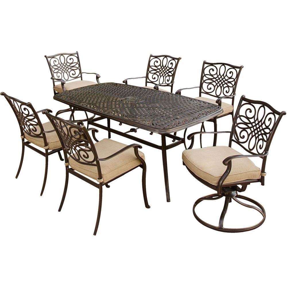 Surprising Hanover Traditions 7 Piece Patio Outdoor Dining Set With 4 Dining Chairs 2 Swivel Chairs And 38 In X 72 In Table Spiritservingveterans Wood Chair Design Ideas Spiritservingveteransorg