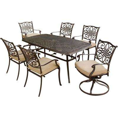 Traditions 7-Piece Patio Outdoor Dining Set with 4-Dining Chairs 2-Swivel Chairs and 38 in. x 72 in. Table