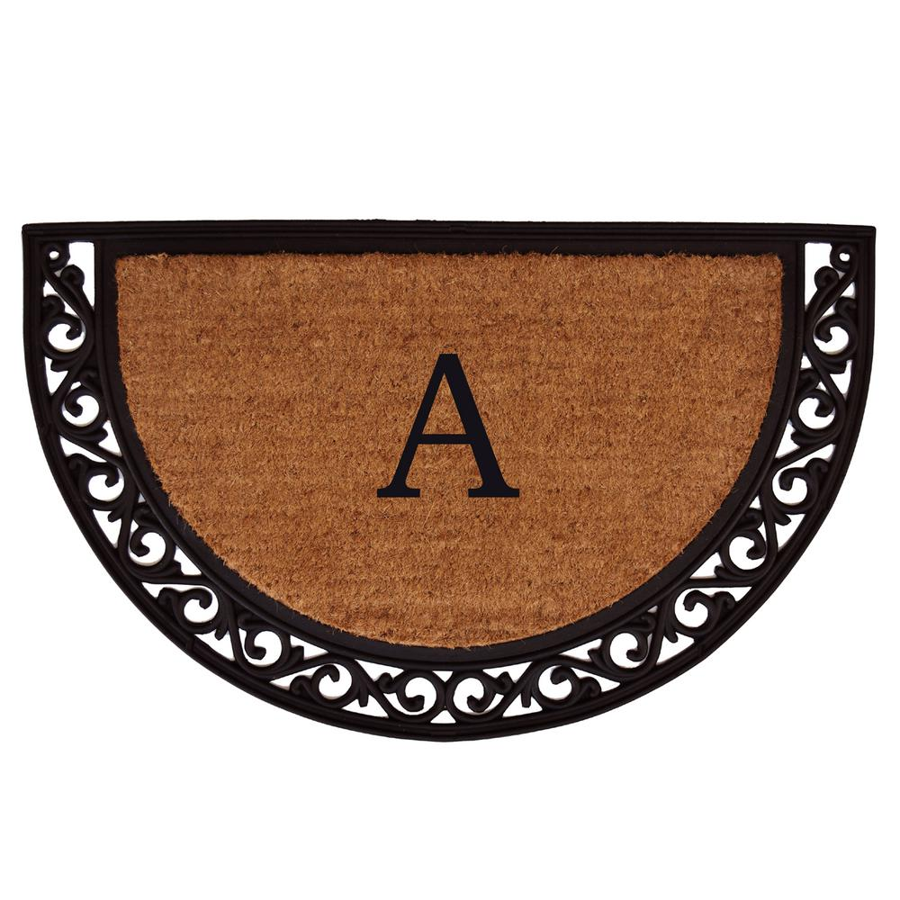 Ornate Scroll 18 in. x 30 in. Monogram A Door Mat