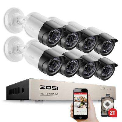 8-Channel 1080p 2TB Hard Drive Security Camera System with 8 Wired Bullet Cameras