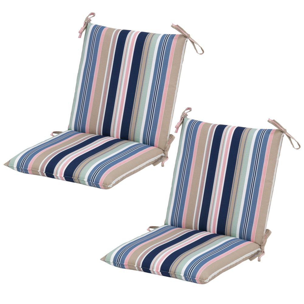 Hampton Bay Hudson Stripe Mid-Back Outdoor Dining Chair ...