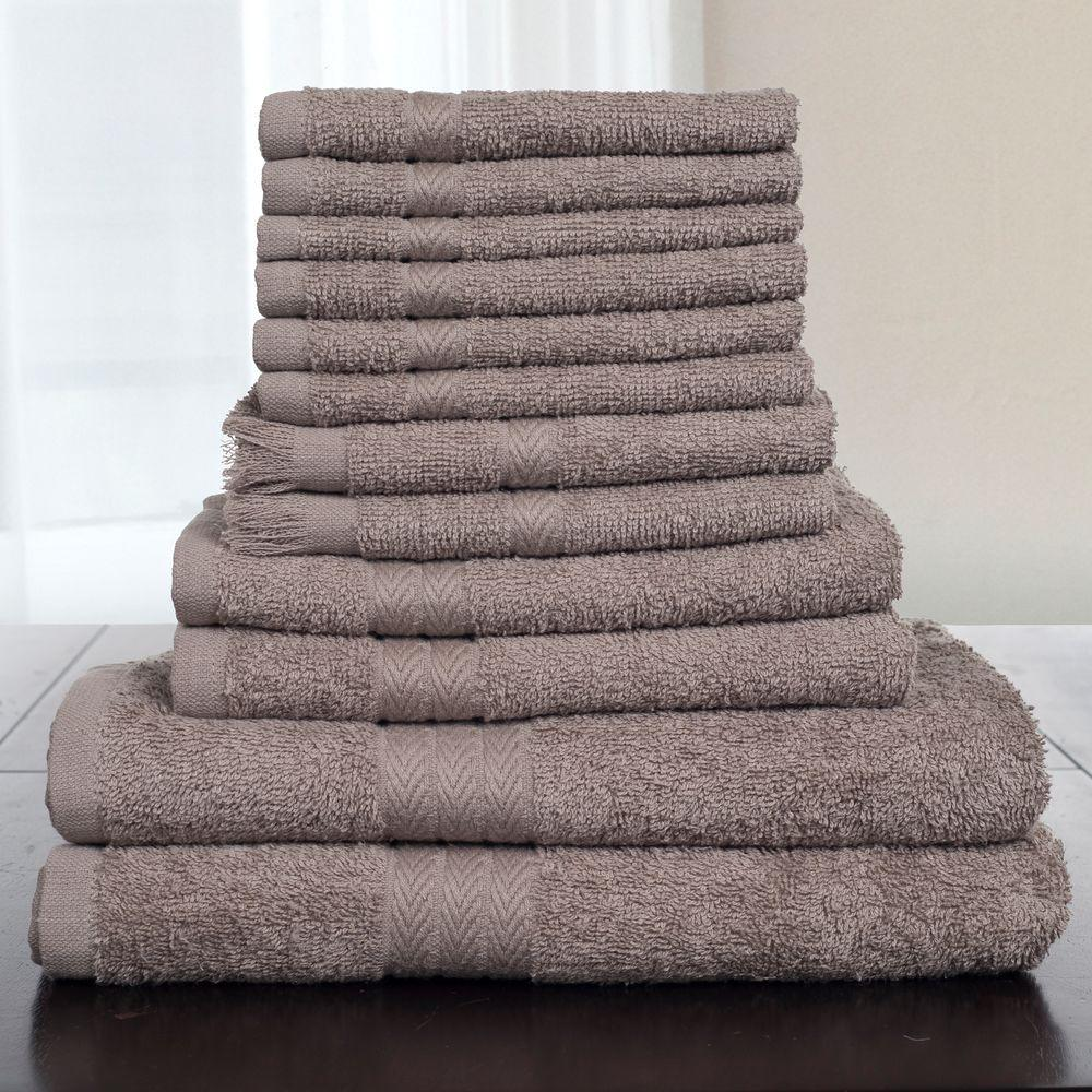 Lavish home 100 cotton towel set in taupe 12 piece 67 for Bathroom 94 percent