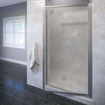 Deluxe 34-1/2 in. x 70- 1/2 in. Framed Pivot Shower Door in Brushed Nickel with Obscure Glass