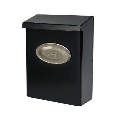Designer Medium, Vertical, Wall Mount, Locking Mailbox, Black w/ Satin Nickel