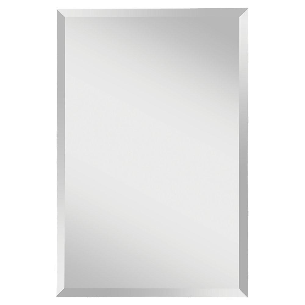 Feiss Infinity 24 In W X 36 H Frameless Rectangle Gl Wall Decor Mirror With Beveled Edge And Dual Mounting Hooks