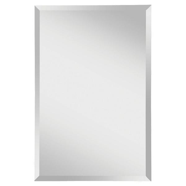 Infinity 24 in. W x 36 in. H Frameless Rectangle Glass Wall Decor Mirror with Beveled Edge and Dual Mounting Hooks