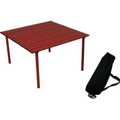 Table in a Bag Red Aluminum Folding Outdoor Picnic Table