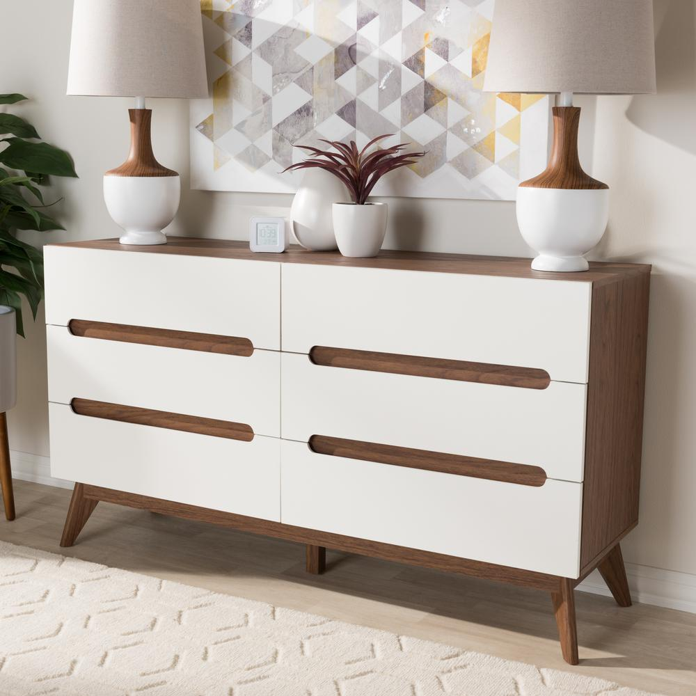 Calypso 6-Drawer White Dresser