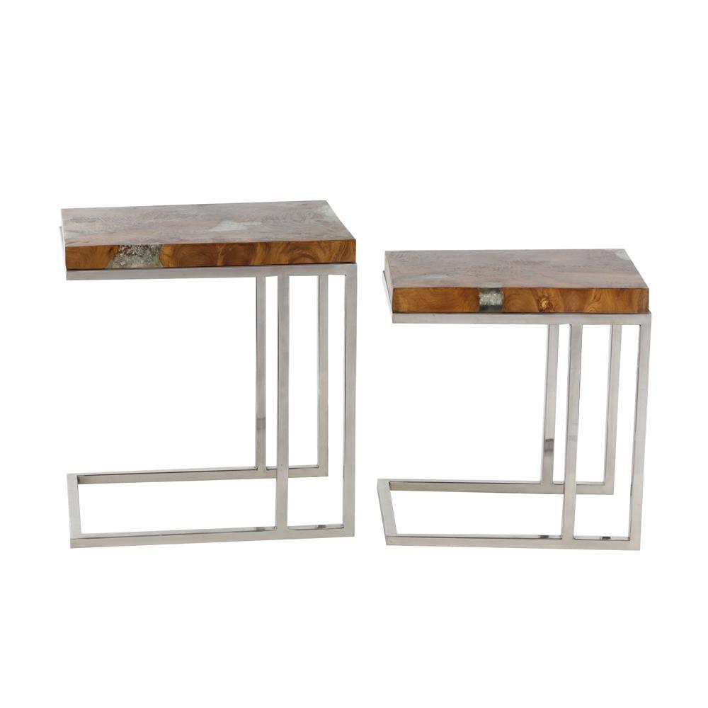 Bon Modern Brown Teak Wood And Stainless Steel Side Table Set (Set Of 2)