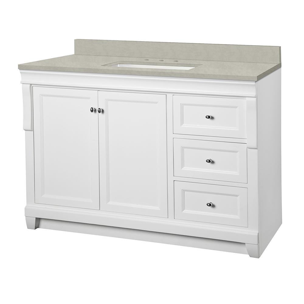 Home Decorators Collection Naples 49 in. W x 22 in. D Vanity Cabinet in White with Engineered Marble Vanity Top in Dunescape with White Sink