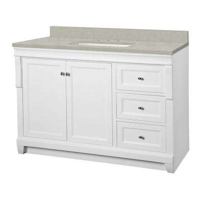 Naples 49 in. W x 22 in. D Vanity Cabinet in White with Engineered Marble Vanity Top in Dunescape with White Sink