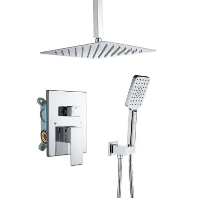 3-Spray with 2.5 GPM 12 in. 2 Functions Tub Ceiling Mount Dual Shower Heads in Spot in Polished Chrome (Valve Included)