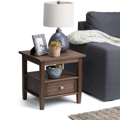 Warm Shaker Farmhouse Brown Storage End Table