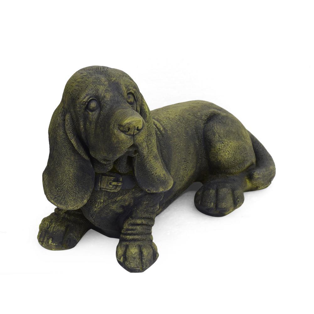 Abby 15.5 in. x 8.75 in. Antique Green Outdoor Basset Hound Dog Garden Ornament