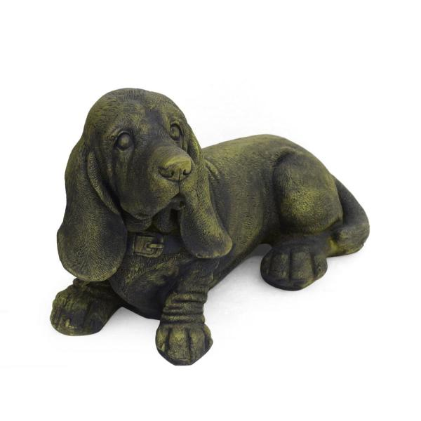 Abby 15.5 in. x 8.75 in. Antique Green Outdoor Basset Hound Dog Garden Ornament