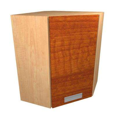 Genoa Ready to Assemble 24 x 38 x 12 in. Angle Corner Wall Cabinet with 1 Soft Close Door in Cognac
