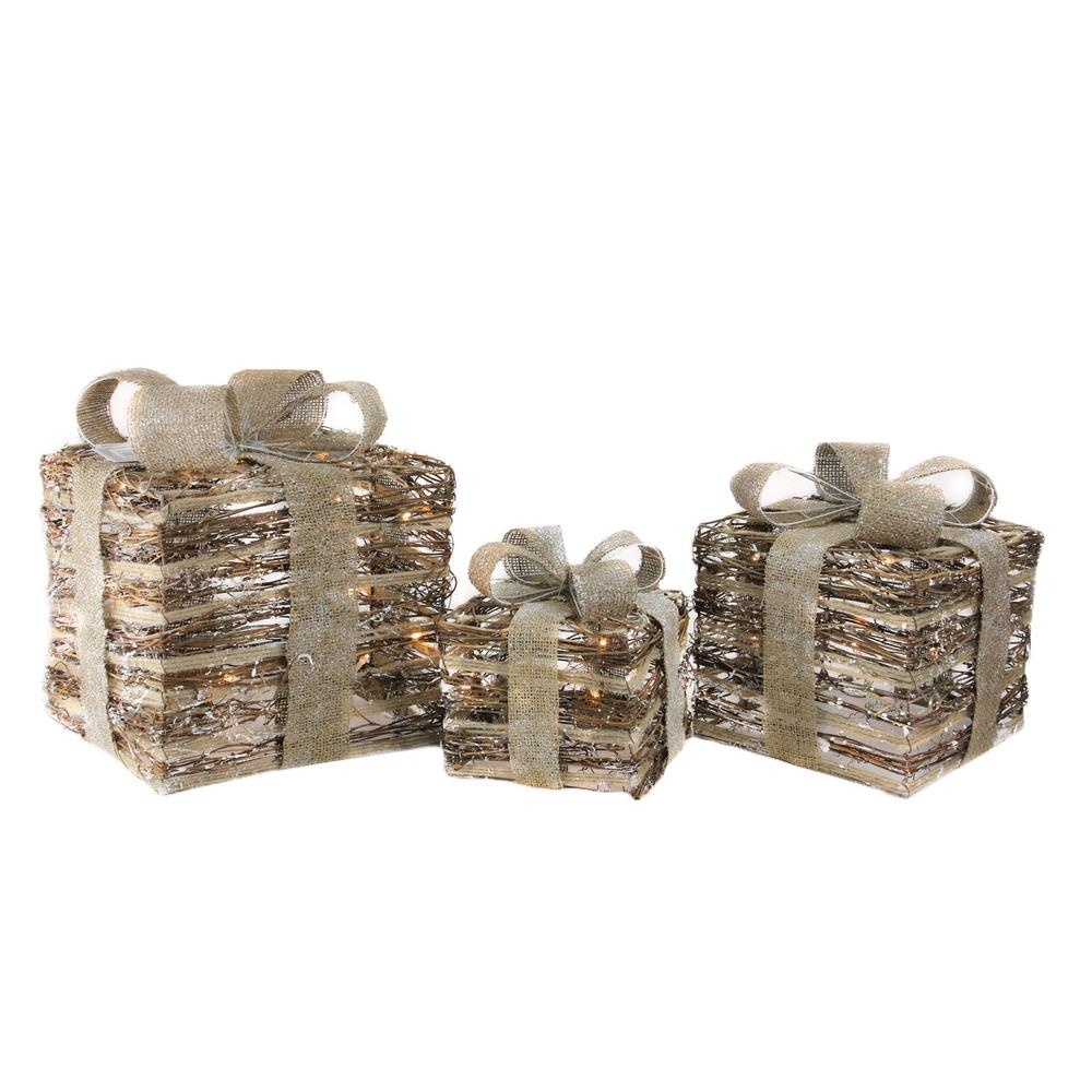Lighted Rattan Gift Boxes with Bows Christmas Decorations (Set of 3)
