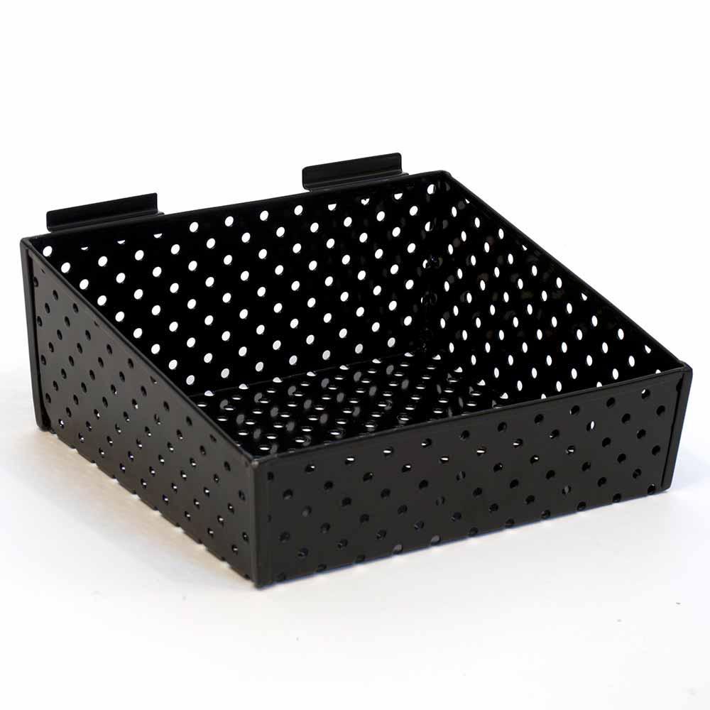 KCF Slatwall Basket 12 in. W x 10 in. D x 3 in. H to 5 in. H Back Perforated Metal, Black (Pack of 2)