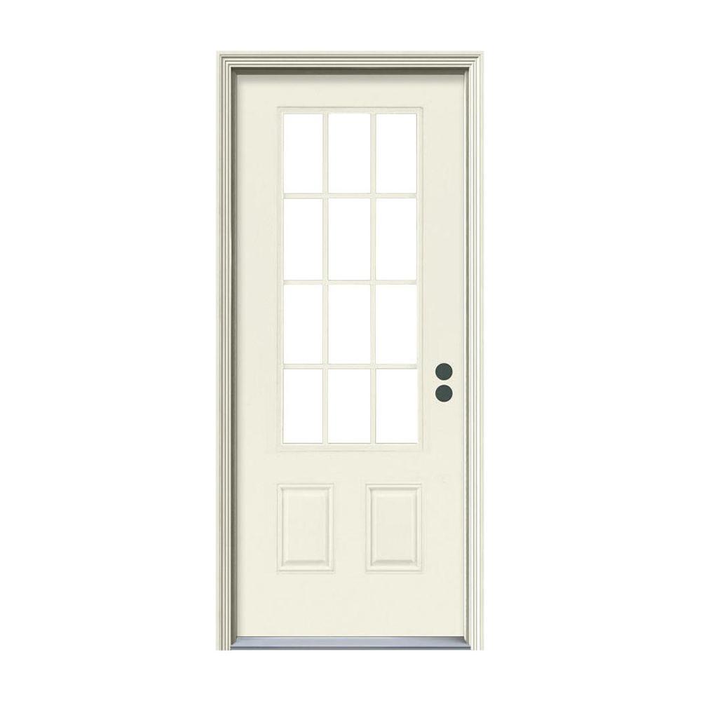 32 in. x 80 in. 12 Lite Primed Steel Prehung Left-Hand Inswing Front Door w/Brickmould