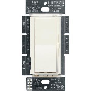 Diva LED+ Dimmer Switch for Dimmable LED, Halogen and Incandescent Bulbs, Single-Pole or 3-Way, Biscuit