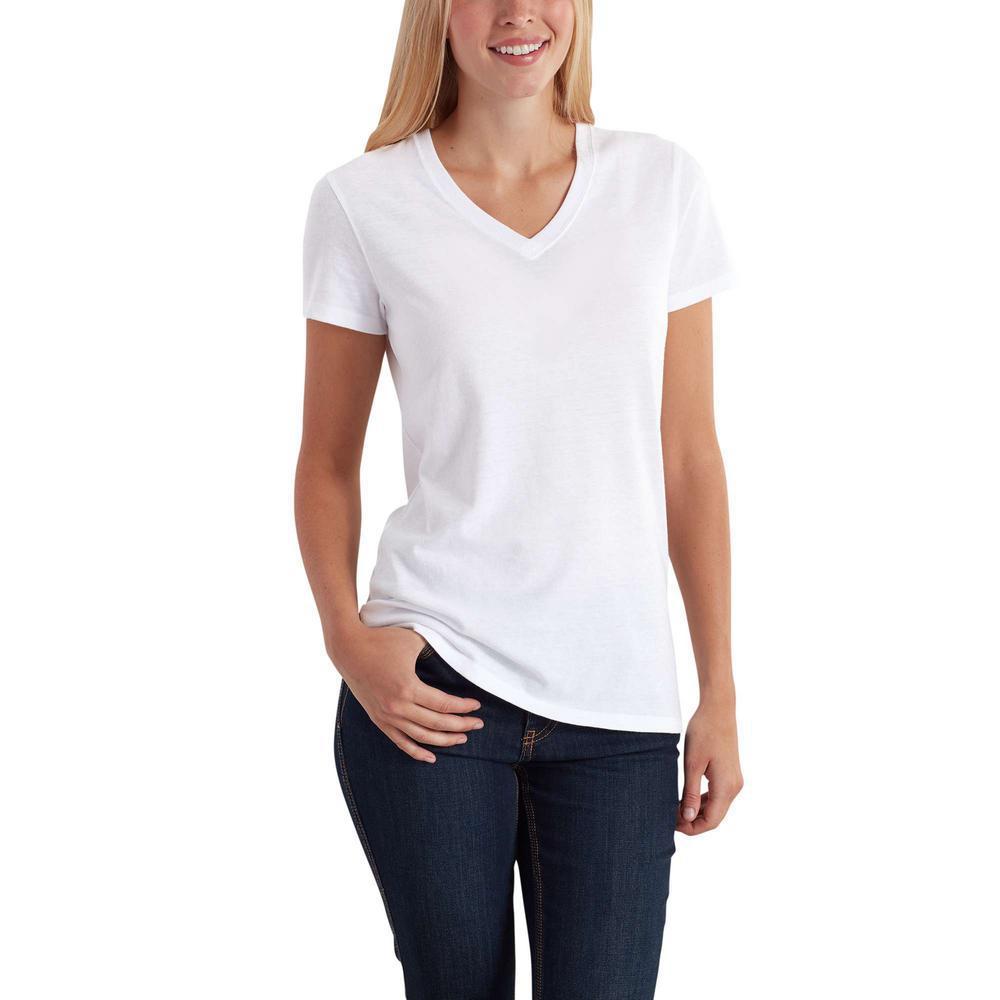 Women's Medium White Cotton/Polyester Lockhart Short Sleeve V-Neck T-Shirt