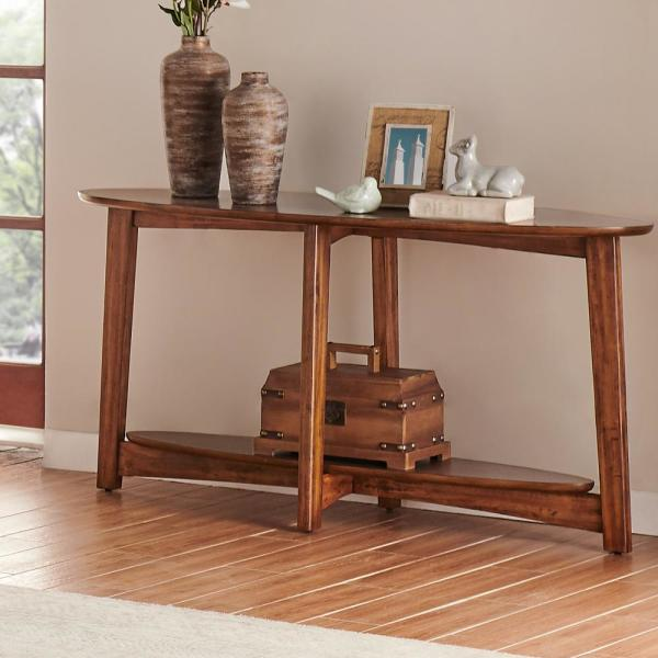 Alaterre Furniture Monterey 60 In Brown Standard Oval Wood Console Table With Storage Anmt1070 The Home Depot