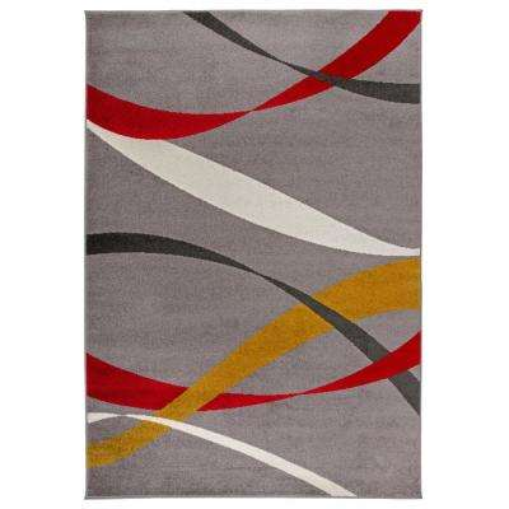 Modern Waves Design Area Rug 5' x 7' Gray