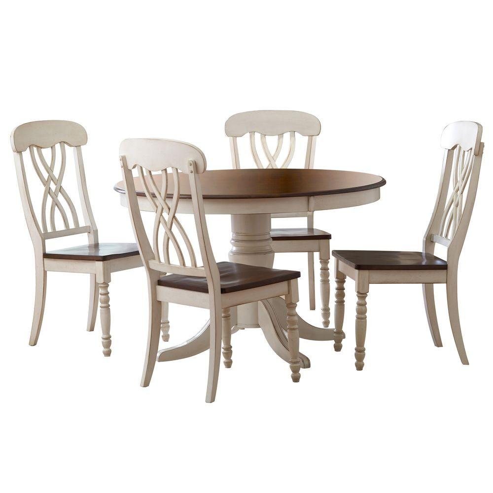 homesullivan 5 piece antique white and cherry dining set 401393w 48 5pc the home depot. Black Bedroom Furniture Sets. Home Design Ideas