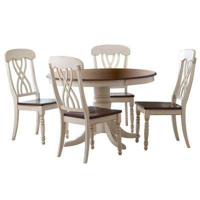 5-Piece Antique White and Cherry Dining Set