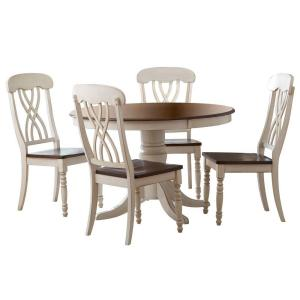 2 5piece antique white and cherry dining set