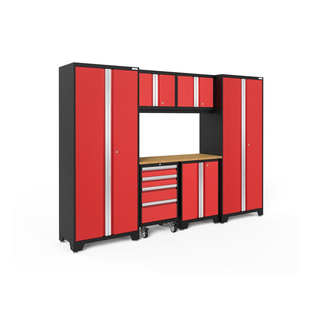 NewAge Products Bold Series 3.0 108 in. W x 77.25 in. H x 18 in. D 24-Gauge Steel Garage Cabinet Set in Red (7-Piece)