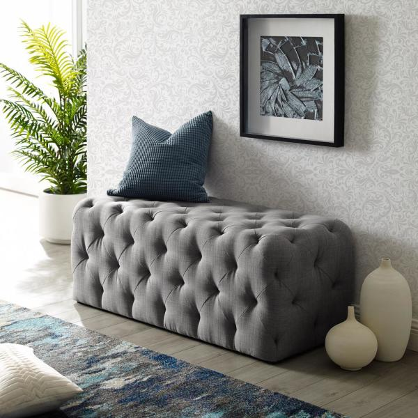 Inspired Home Norman Light Grey Linen Tufted Allover Upholstered Bench Bh85 03lg Hd The Home Depot