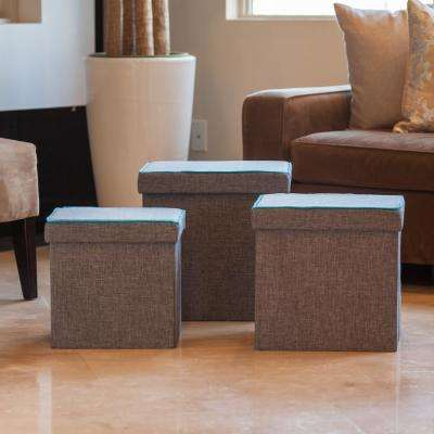 Folding Gray with Turquoise Piping Storage Ottoman (Set of 3)