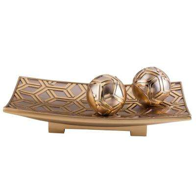 Rose Gold Savannah Polyresin Decorative Bowl With Spheres