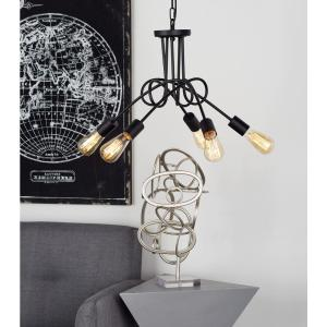 16 inch Black Chandelier with 5-Light Bulb Holders Attached to Looped Iron Rods