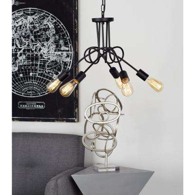 16 in. Black Chandelier with 5-Light Bulb Holders Attached to Looped Iron Rods