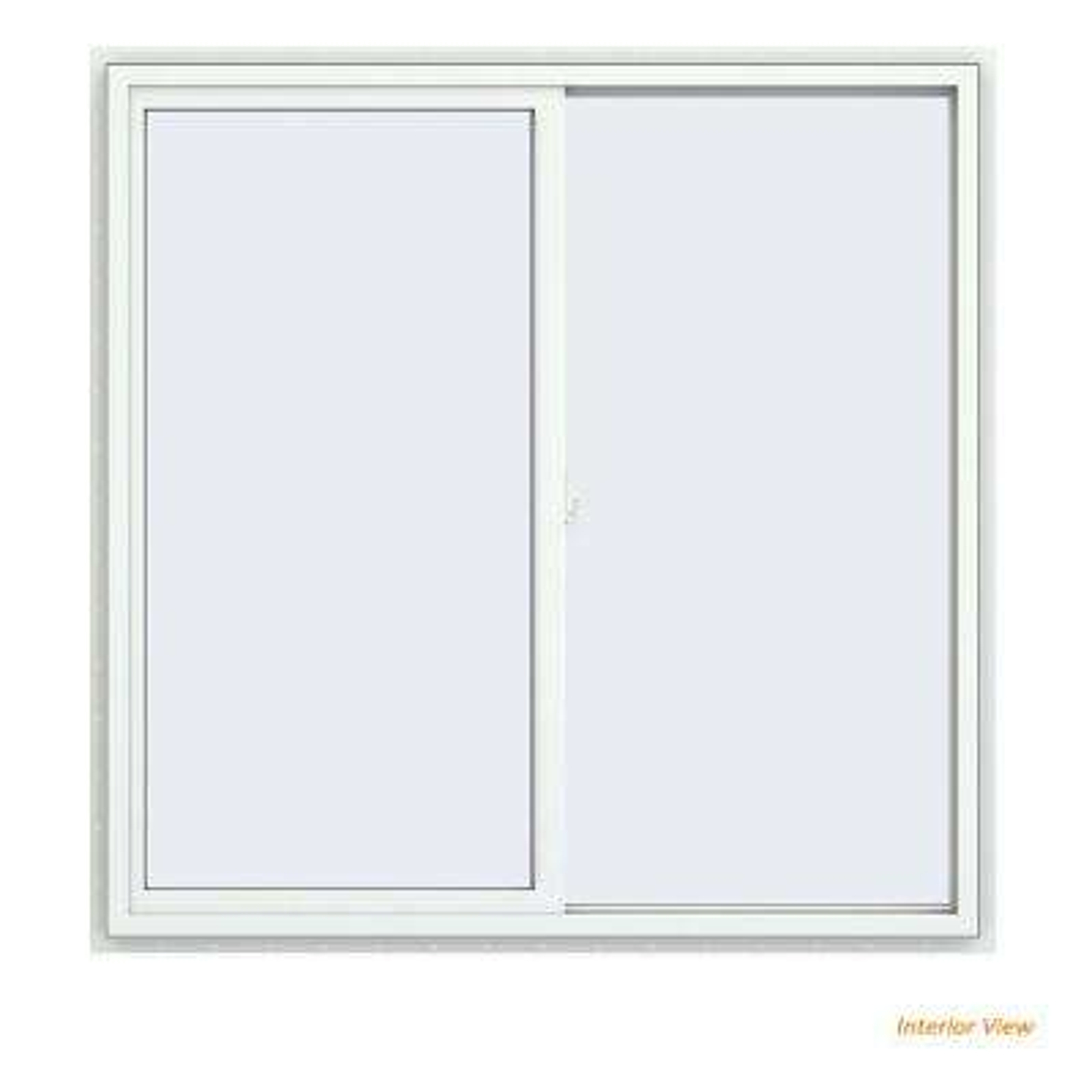 47.5 in. x 47.5 in. V-2500 Series White Vinyl Right-Handed Sliding Window with Fiberglass Mesh Screen