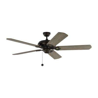 York 60 in. Aged Pewter Ceiling Fan with Light Grey Weathered Oak Blades with Pull Chain