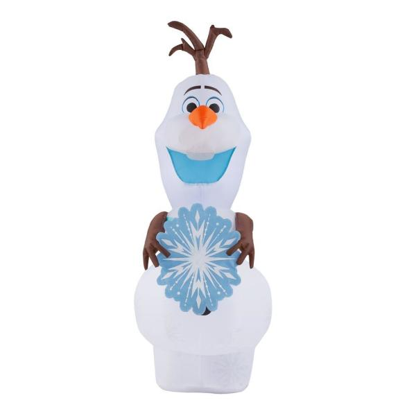 4 ft. Inflatable Olaf with Snowflake Scarf